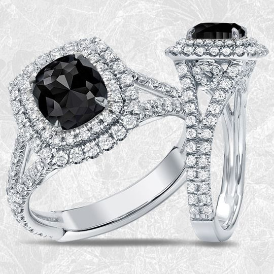 Beauty with a bold edge, diamond wish's black diamond engagement rings are cut and polished to...