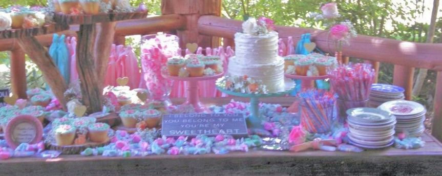 A cake, cupcake and candy table? Sure! Why not?