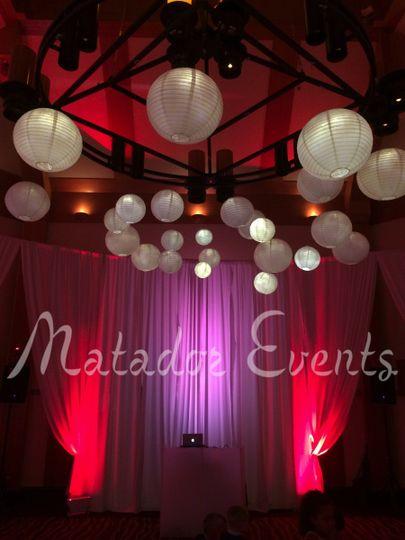 larkspur pipe drape uplights lanterns matadoreven