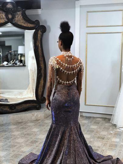 Custom crystal formal gown