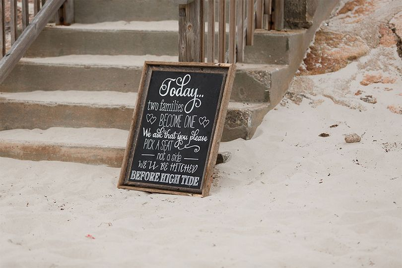 Custom Chalkboard in a rustic wood frame for a Cape Cod beach wedding ceremony at Sea Crest Beach...