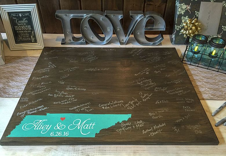Stained wood guestbook