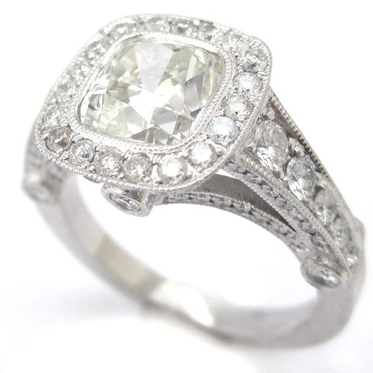 cushion engagement shape engaegment with diamond prong set nina cut rings elle jewels img round halo ring