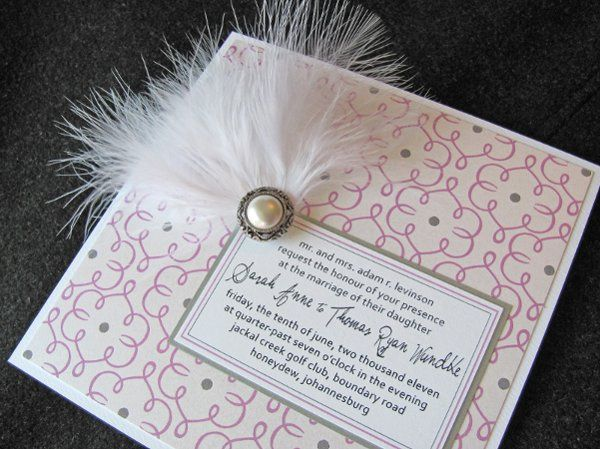 Lavender and gray wedding invitation with white feather and pearl button brooch.  Dogwood Blossom...
