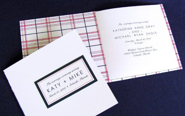 Hot pink and navy blue plaid wedding program with hand-sewn binding. Modern preppy style.  Dogwood...