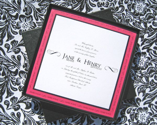 Tmx 1301678836692 BlackFuchsiaBoxedInvitefull Sharpes, FL wedding invitation