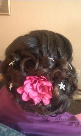 Updo with floral notes