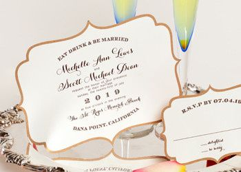 """Wedding style W-5005 is a """"plaque"""" shapped two layer invitation. Shown with accessory cards with the..."""