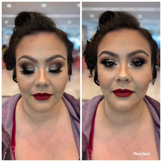 Full glam with a bold lip
