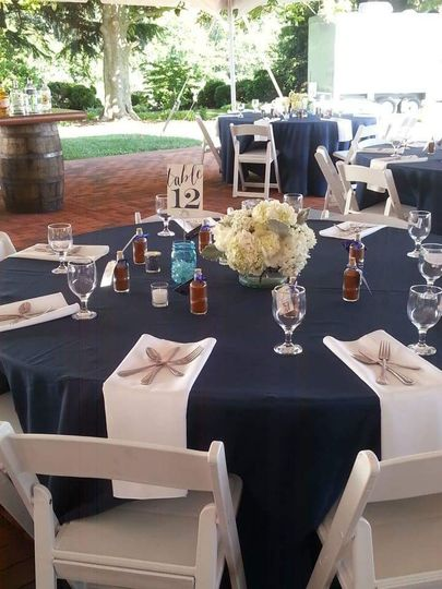 Table set up with floral centerpiece