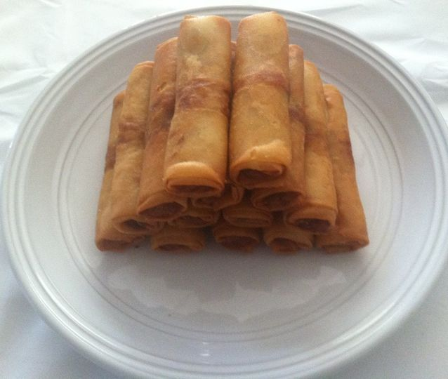 World Famous Eggrolls  Pork, Shrimp, Rice Noodles, Carrots, Cabbage, Green Onions, wrapped in a Rice...