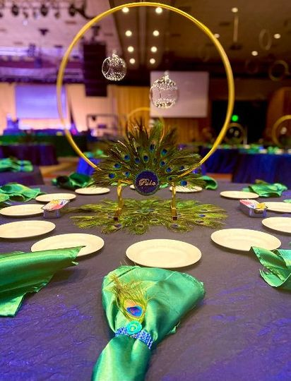 Peacock-themed tablescape