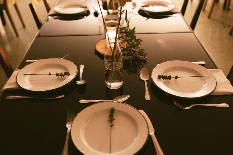 Enamel dinner plates place setting