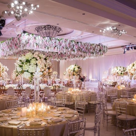 Table set-up with floral centerpiece