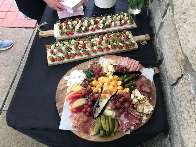 Caprese sticks and charcuterie boards
