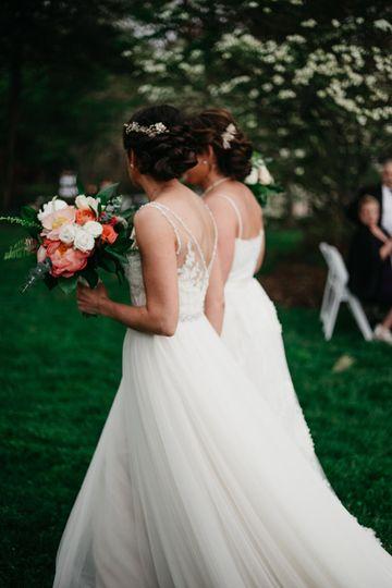 Brides walking the aisle