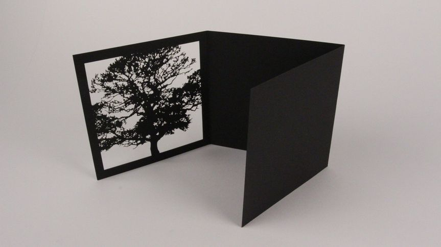 """Laser cut luxury invitation sleeve with extremely popular """"tree"""" theme. Black linen paper."""