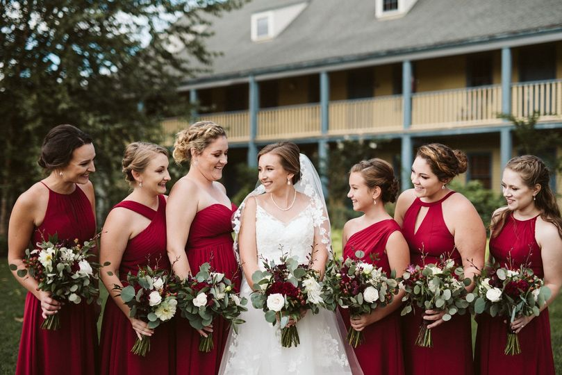Red roses and wedding poses
