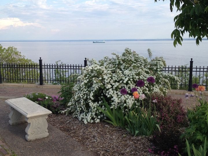 Beautiful Lake Superior, as seen from Duluth's Rose Garden.