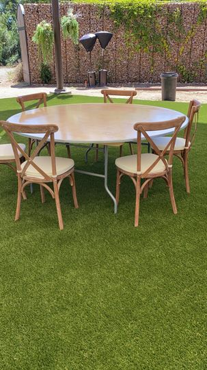 """72"""" round tables & chairs"""