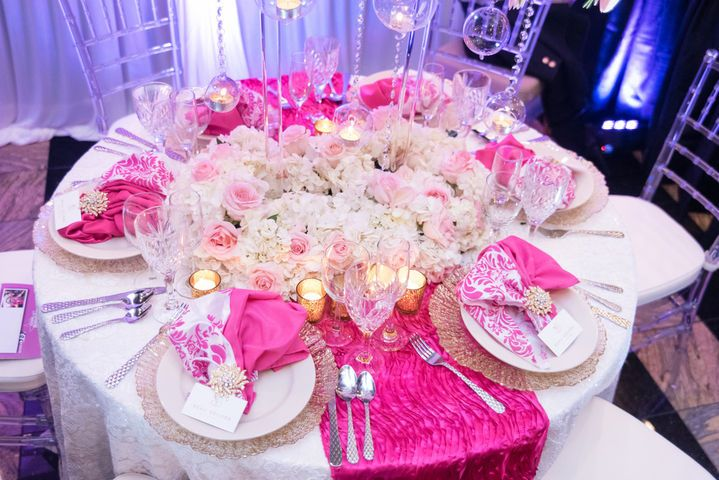 Table setup with floral centerpiece