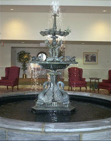 Our lobby features a beautiful bronze water fountain that is great for pictures.