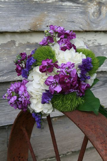 white green purple bouquet
