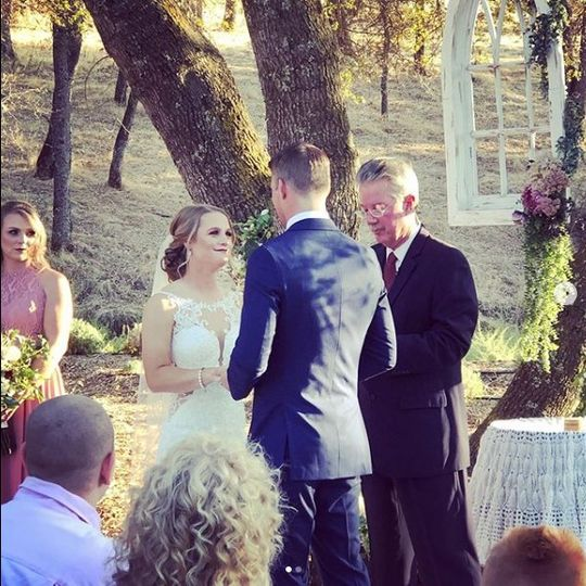 Couple at outdoor ceremony