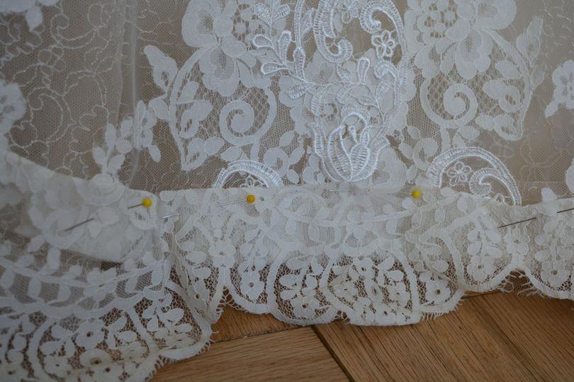 Hem lace wedding dress