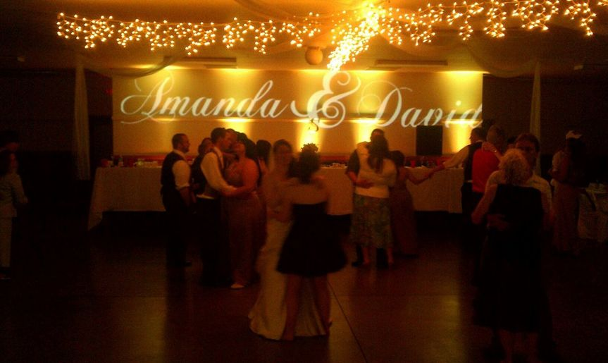 Amanda and David's Reception, Huron County Expo Building Norwalk Ohio. Up-Lighting and Monogram...