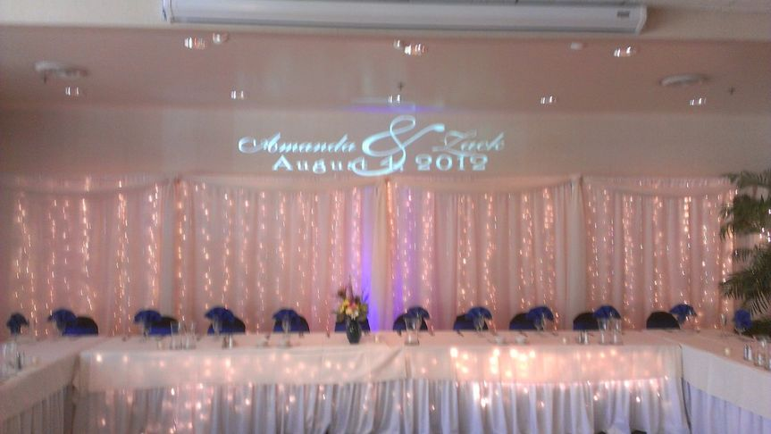 Amanda and Zack's reception at Stone Ridge Golf Club in Bowling Green Ohio. Custom Monogram behind...