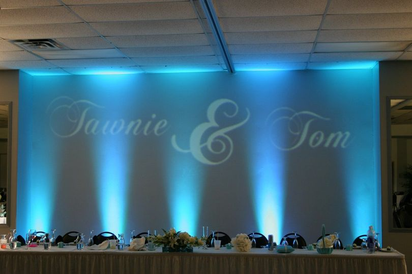 Monogram and Up-Lighting behind head table