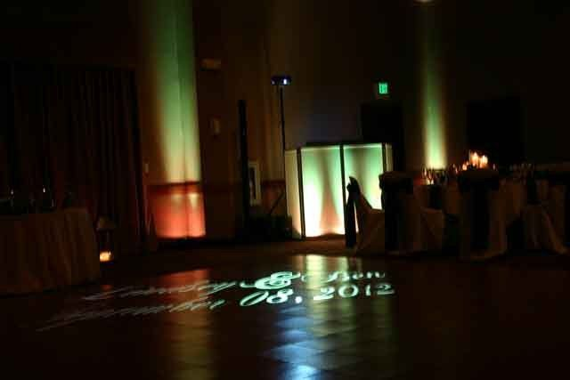 Lindsey and Ben reception at the Kalahari in Sandusky Ohio. Up-Lighting, Dance Floor Monogram