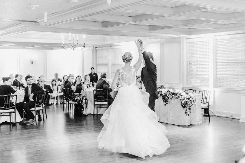 Newlyweds enjoying their first dance