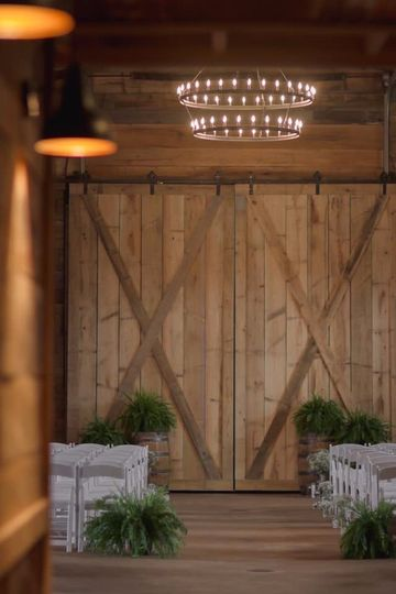 The barn doors with seating