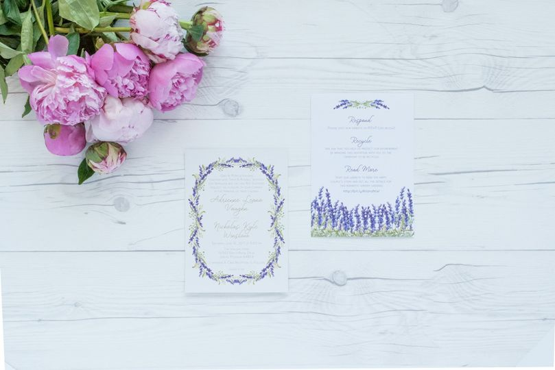 wedding invite 2 page gold foil lavender