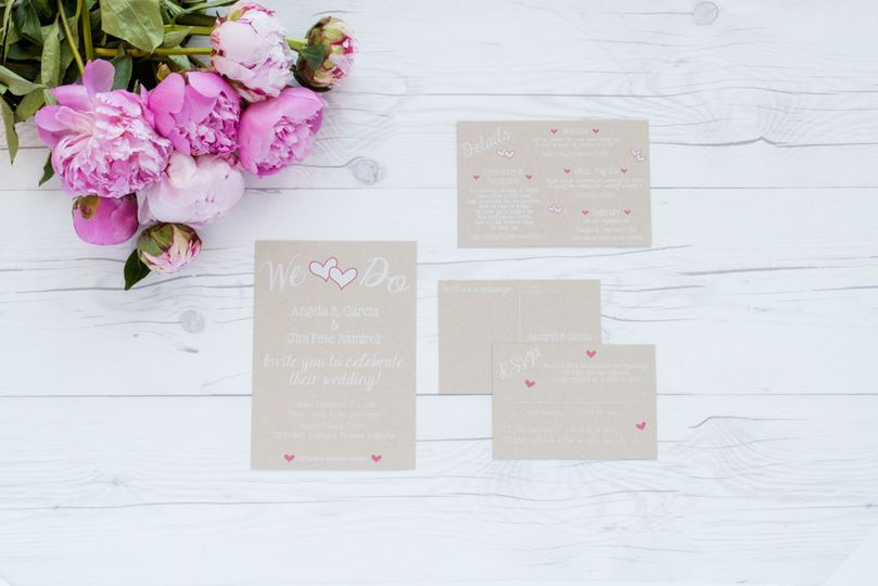 wedding invite suite kraft hearts