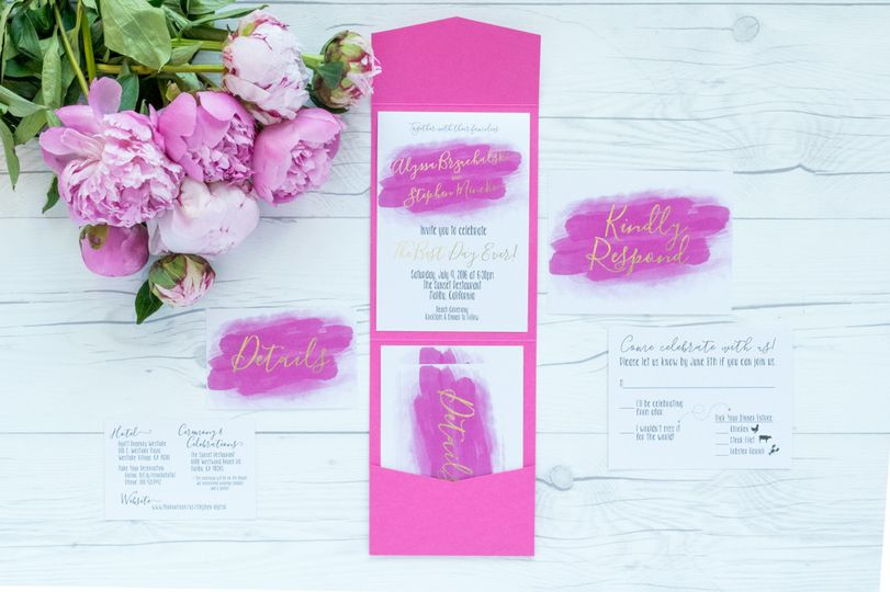 wedding invite suite pink watercolor