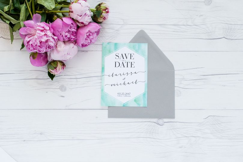 save the date faux watercolor geometric