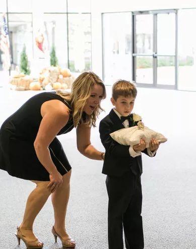 Bridesmaid and ring bearer