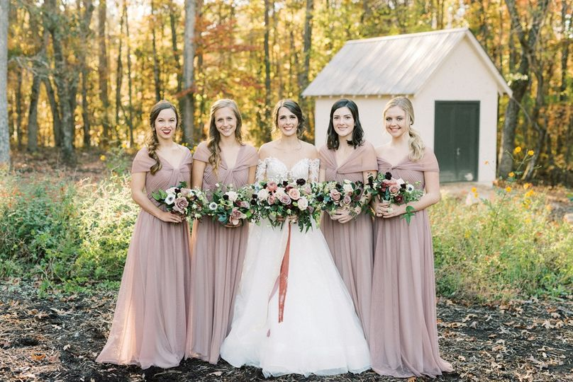 Bridal party in the woodland