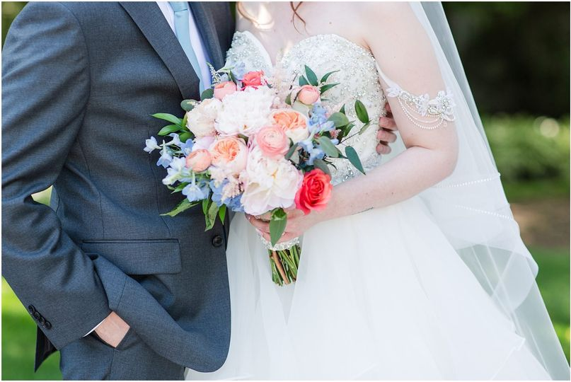 Coral, peach, and blue bouquet