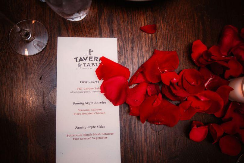 Reception menu and florals