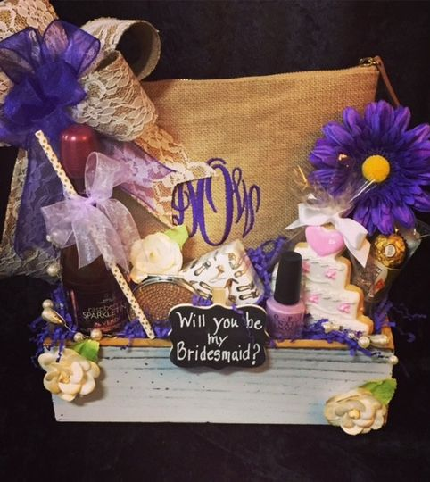 "Custom made ""Will you be my bridesmaid?"" gift. Contains a Burlap Cosmetic bag monogrammed with each..."