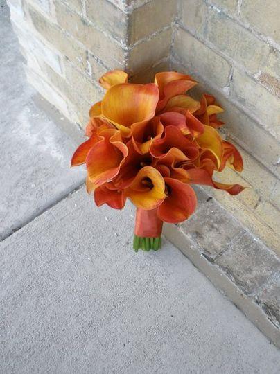 Bridal Bouquet of flame callas
