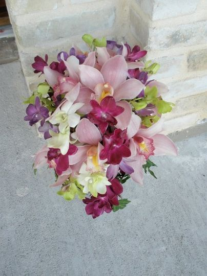 Cymbidium and dendrobium orchid bridal bouquet
