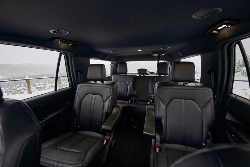Inside a luxury SUV
