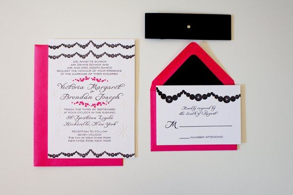 Brilliant Baubles Suite with matching response card and black band.  With strands of baubles and...