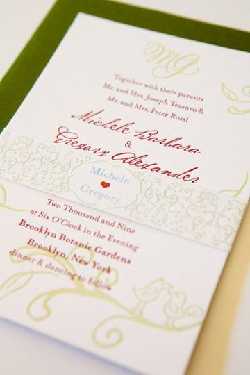 Love Birds Invitation with matching band.  Sweet and charming hand drawn birds perched on a tree,...