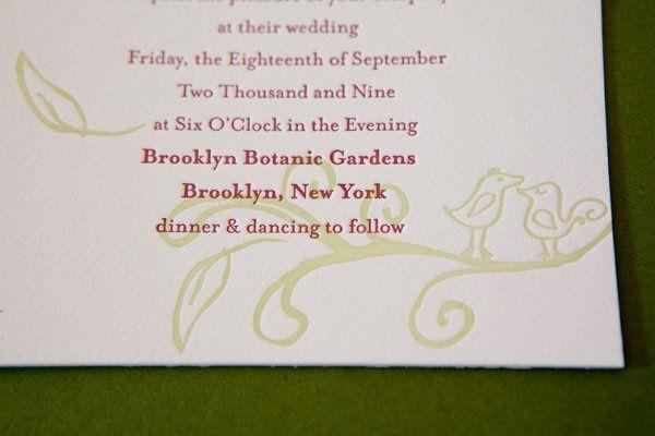 "Sweet hand drawn birds on the ""Love Birds"" invitation suite."